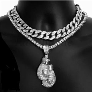 New White Gold Boxing Gloves Iced Out Tennis Chain